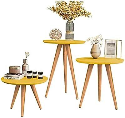 Kit Mesa Apoio/Lateral e Centro Retrô Classic com 3 Pernas Decoração - Amarelo