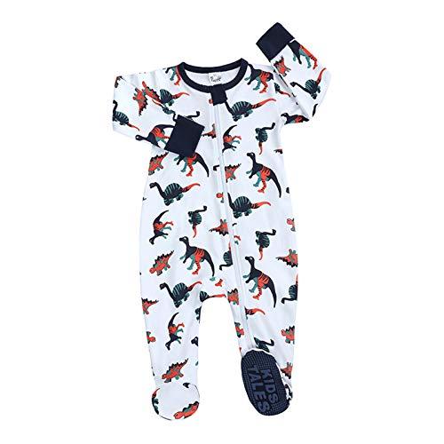 Unisex Baby Neugeborene Jungen Jungen Mädchen Cartoon Strampler Reißverschluss vorne rutschfeste Füße Schlafanzug