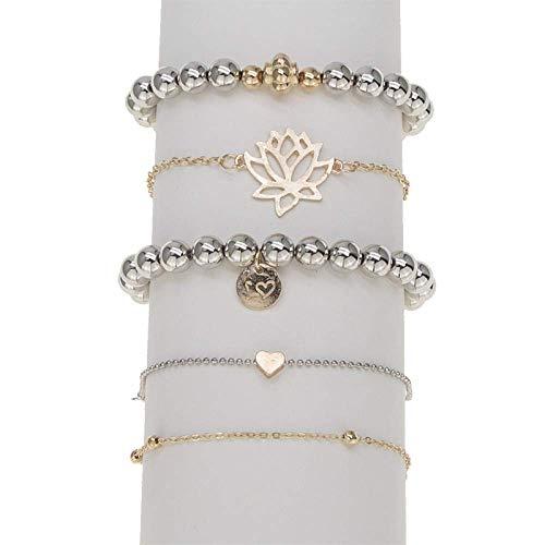 ZYJ 5PC's Holle Lotus zilveren kralen armband set eenvoudige etnische lantaarn bedel armbanden voor vrouwen Boho Bangles pols sieraden