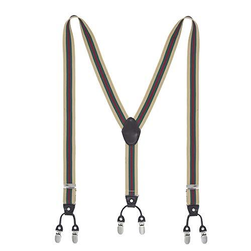 MLM Uomo Bretelle Bretelle Per Uomo Heavy Duty 6 Clip Ampie Tracolle Elasticizzate 1.4'Y Shape Back Resistenti Clip in Metallo (Garanzia di un anno) (Strisce rosso-verde)