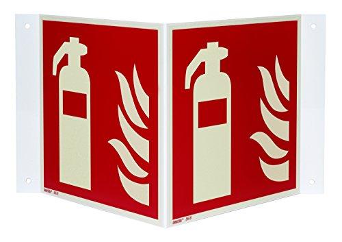 Feuerlöscher Nasenschild/Winkelschild, Hart-PVC langnachleuchtend, 150 x 150 mm gemäß ASR A1.3 / ISO 7010 F001, Brandschutzzeichen Schild, 15 x 15 cm