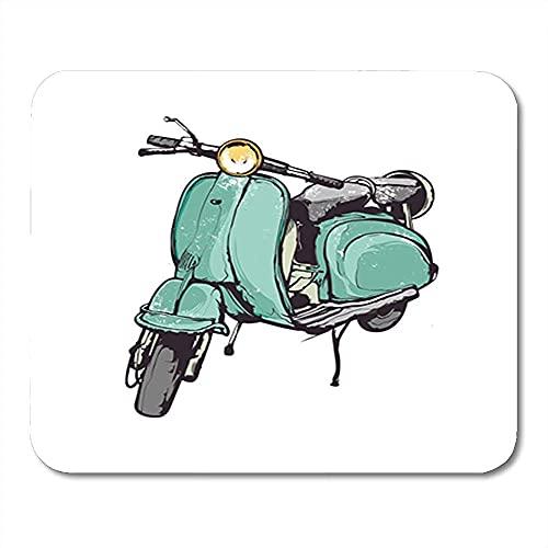 Alfombrilla de ratón Vespa Vintage gráficos de mano turquesa antiguo scooter Italia retro decoración de oficina antideslizante de goma alfombrilla de ratón para juegos