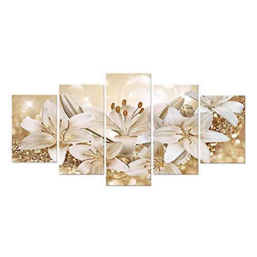LAHappy Stampe di Pittura Piy, Dipinti Senza Cornice, Sfondo di Fiori Giglio Dorato, 5 Pareti Poster di Tela in Stile Moderno, per La Decorazione Domestica,d'oro,S