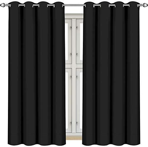 """Utopia Bedding [2 Paneles] Cortina Opaca - Cortinas Aislantes Térmicas - con Ojales – 117 x 137 cm (46 x 54"""") – Negro"""