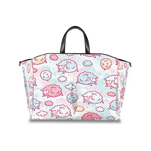 Bolsa de pañales para pañales, de algodón, con diseño de ovejas, multifuncional, organizador impermeable para cochecito de bebé, bolsas de viaje para pañales, con correa de velcro ajustable