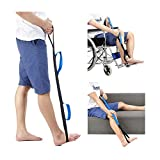 Leg Lifter Strap Rigid Foot 37'' Medical Thigh Lifter for Elderly After Knee Hip Surgery Recovery Kit & Hand Grip Therapy Tools Handicap Disability Mobility Aids for Car Bed Wheelchair Transfer (Blue)