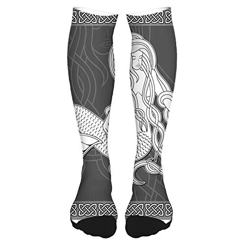 2021 Fashion Thigh High Socks Cotton Over the Knee Socks,Retro Style Art Mermaid Brushing Hair and Border with Celtic Patterns Print,Long Knee High Socks for man and woman 60cm