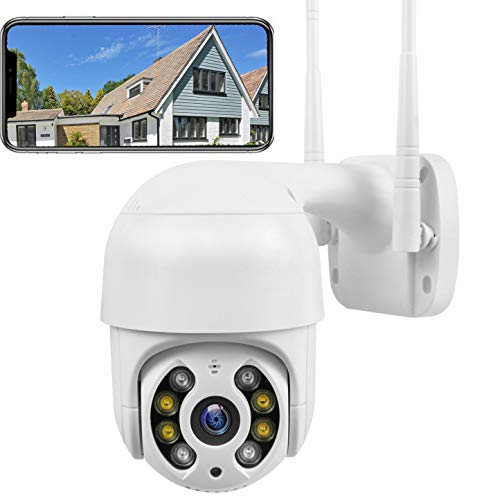 PTZ Camera WiFi 1080P, IP Camera 320° Pan/90° Tilt, Sensore di Movimento, Audio Bidirezionale, Visione Notturna, IP66 Impermeabile, APP Allarme