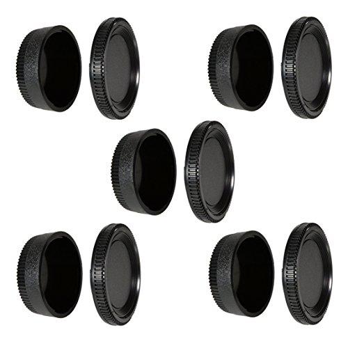 CamDesign Camera Body Cap and Rear Lens Cover Compatible with Nikon D7500 D750 D3400 D3300 D3200 D5500 D5300 D5200 D5100 D5000 D7200 D7100 D7000 D610 D600 D60 D70 D80 D90 D500 D4s D4 D810 D800 (5 PC)