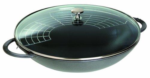 STAUB Gusseisen Wok mit Glasdeckel, rund 37 cm, graphitgrau