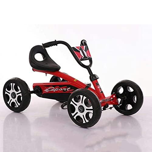 Scooter de 4 ruedas: bicicleta para niños Karting de cuatro ruedas, neumáticos a prueba de explosiones, silenciosos y resistentes al desgaste, una rueda de 4 ruedas más estable, rosa ( Color : Red )