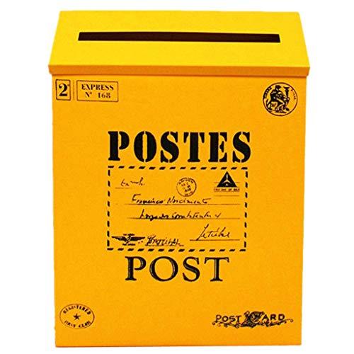 B Blesiya Vintage Briefkasten Postkasten Mailbox Letterbox Wandbriefkasten, Gelb