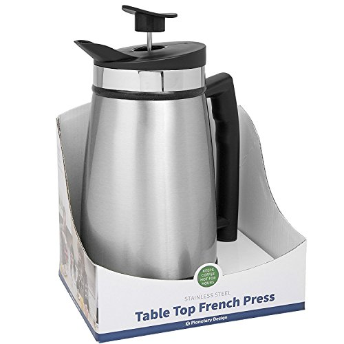 Planetary Design French Press Table Top Coffee and Tea Maker Carafe with Bru-Stop Technology - 48 oz - Stainless Steel - Brushed Steel