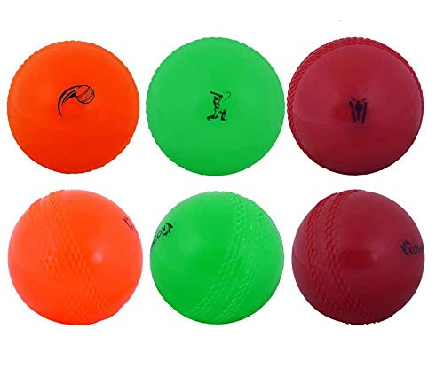 Kosma World Cup England & Wales 2019 Windball-Übungs-Cricketball | Weiche Trainingsbälle - 6er Pack - Farbe: 2 Orange, 2 Grün, 2 Rot