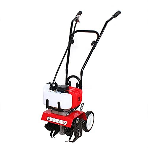 52CC 2-Takt Benzin Ackerfräse - Benzin Motorhacke mit 35 cm Arbeitsbreite/3-10cm Arbeitstiefe,Gartenhacke zum umgraben und lockern vom Boden für perfekte Pflanzen(4 Harte Messer,φ22,5cm)