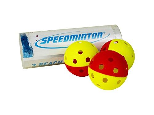 Speedminton Pelotas de Goma de Playa para Smashball, Pro Kadima, Surfminton, Frescobol y Otros Juegos de Pala de Madera y plástico, Amarillo y Rojo (00854310007064)