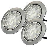 Möbeleinbaustrahler 55mm LED 12V super flach 3 x 3W Einbauleuchten Lotta inkl. Kabel mit Mini Stecker 3000K Warmweiß