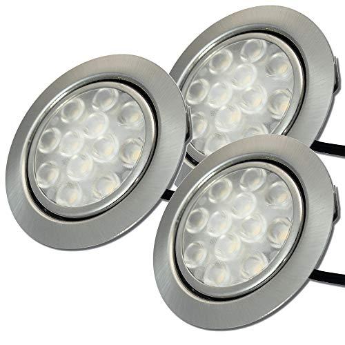 Möbeleinbauspots 55mm LED 12V super flach 3 x 3W Einbauleuchten Leonie mit Kabel, Mini Stecker und Verteiler 3200K Warmweiß