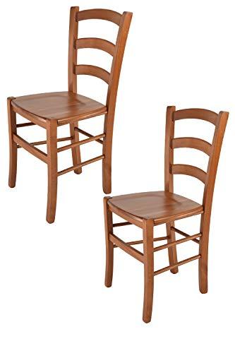 Tommychairs - Set 2 sedie modello Venice per cucina bar e sala da pranzo, robusta struttura in legno di faggio color ciliegio e seduta in legno