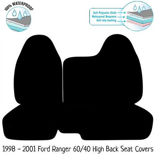 RealSeatCovers 100% Waterproof Neoprene A77 Regular Cab RCab 60/40 Split Bench Seat Cover Molded Headrest for Ford Ranger 1998-2001 (Gray/Black)