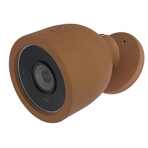 Nest Cam IQ Outdoor Skin - Coperture colorate in silicone compatibili con Nest Cam IQ Telecamera per Esterni; Camuffa e accessoria la tua fotocamera (1 pacco, marrone) di Wasserstein
