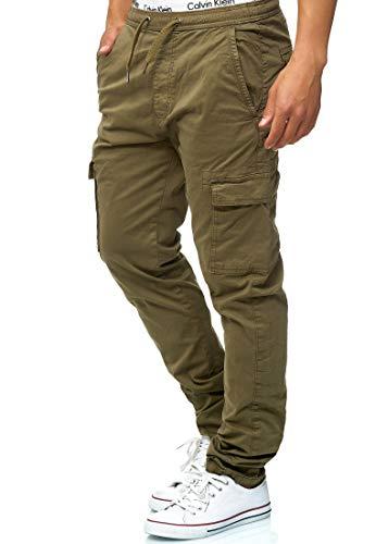 Indicode Herren Broadwick Cargohose aus Baumwolle mit 6 Taschen | Lange Regular Fit Cargo Hose Baumwollhose Freizeithose Wanderhose Trekkinghose Pants Outdoorhose für Männer Army XL