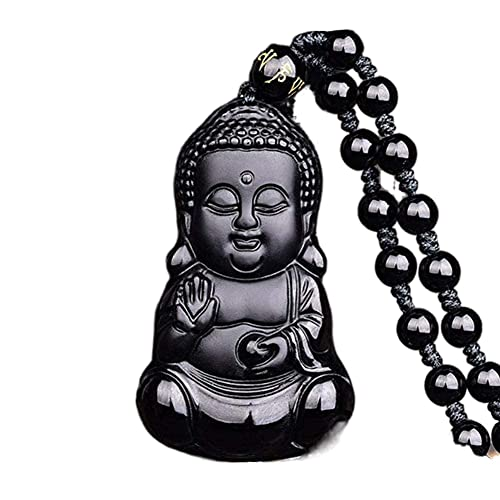 Natural black obsidian crystal baby buddha necklace Amulet pendant with adjustable bead chain for women
