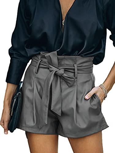 Uusollecy Shorts Damen Leder High Waist, Damen Paperbag Waist Kunstleder Shorts, Casual Wide Leg PU Leder Kurze Hose Für Frauen Teen Girls Grau XL