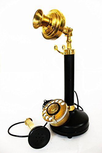 Modren Look Old Retro Candel Stick Phone Ornamental Phone Black & Brass