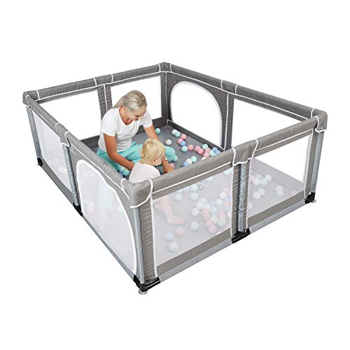 YOBEST Baby Playpen, Extra Large Playyard for Baby, Play Pens for Babies and Toddlers, Sturdy Safety Huge Baby Fence Play Area Center with Gate, Giant Play Yard for Kids, Twins, Child, Infants