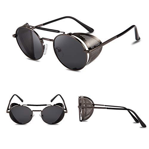 FEISEDY Steam Punk Sunglasses for Men Women Side Shield Round Steampunk Vintage Glasses Shades B2518 steampunk buy now online