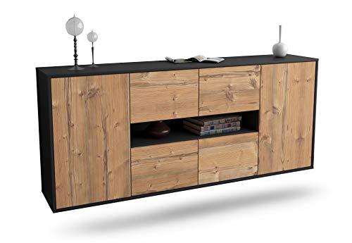Dekati Sideboard Stamford hängend (180x77x35cm) Korpus anthrazit matt   Front Holz-Design Pinie   Push-to-Open