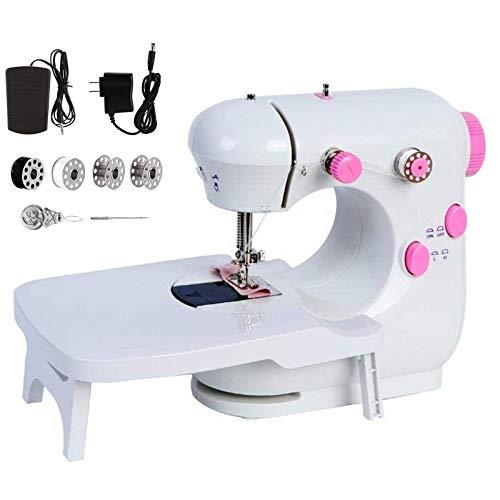 Máquina de Coser De Doble Velocidad, Con luz nocturna y mesa extensible, Con luz nocturna, Portátil y práctica, Apta tanto para principiantes como para amantes de la costura - Rosado