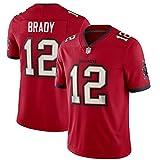Maillot de rugby pour homme Tom Brady # 12 Tampa Bay Buccaneers, jersey de rugby américain, tissu brodé à manches courtes, sweat-shirt de sport pour adulte, 123, Rouge, 2XL(190~195)