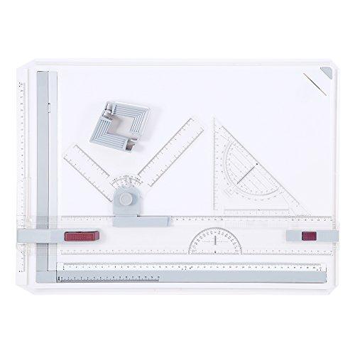A3Zeichenbrett, Multi-Funktion Zeichenbrett Ausarbeitung Tisch mit Parallelführung und Winkel einstellbar