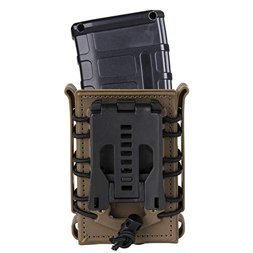 IDOGEAR Magazine Pouch 5.56 Belt Clip Mag Pouch 7.62mm Softshell Rifle Mag Holder for Belt M4/AR/AK Rifle Magazines (Coyote Brown(Belt Clip Version))