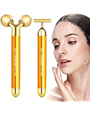 2-IN-1 Beauty Bar 24k Golden Pulse Facial Face Massager, Electric 3D Roller and T Shape Massager Skin Care Tools Gift Set for Face Lift Anti Wrinkles Skin Tightening Face Firming