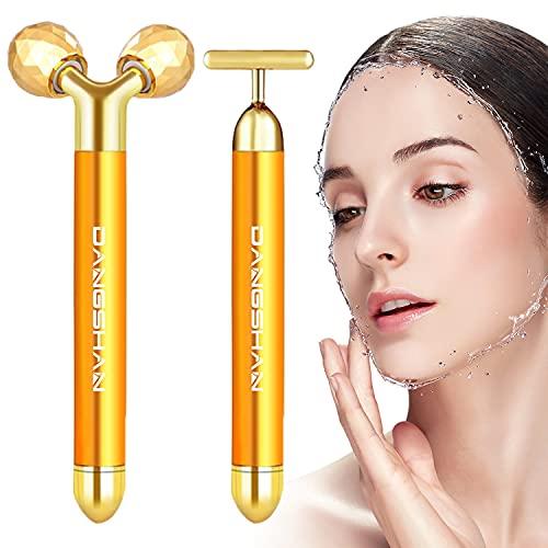 2-EN-1 Beauty Bar 24k Golden Pulse Facial Masajeador facial, Eléctrico Masajeador Para la piel Sensible, Lifting facial instantáneo, Antiarrugas, Para Frente, Mejilla, Cuello, Brazo, Ojos, Nariz