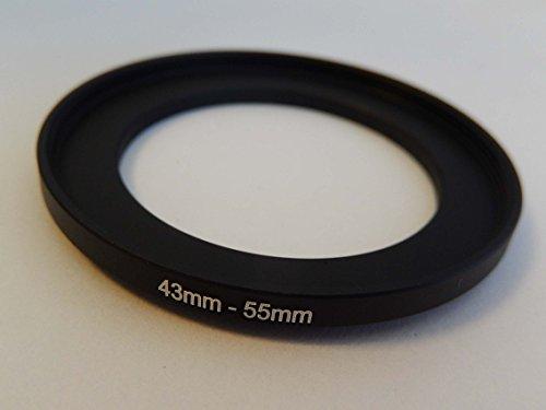 vhbw Step UP Filter-Adapter 43mm-55mm schwarz passend für Kamera Agfa, Agfaphoto, Canon, Casio, Fujifilm, Kodak, Minolta, Nikon, Olympus
