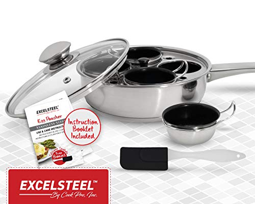 ExcelSteel Non Stick Easy Use Rust Resistant Home Kitchen Breakfast Brunch Induction Cooktop Egg Poacher, 4 Cups, 18/10 Stainless Steel