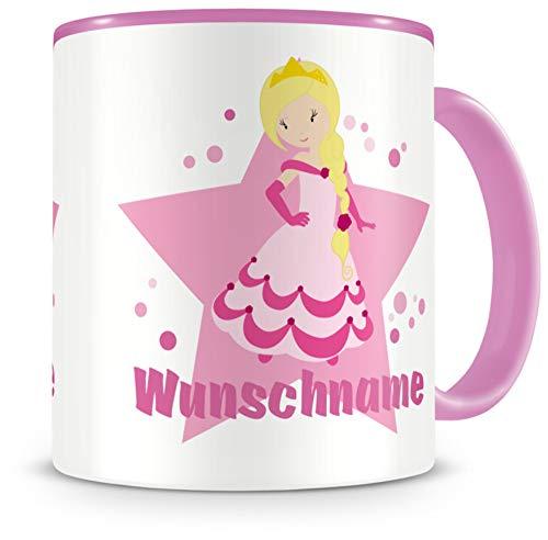 Samunshi® Kindertasse mit Namen Tasse süße Prinzessin Personalisierte Tasse mit Namen Kinder Kinderbecher mit Namen Kindergarten rosa 300ml