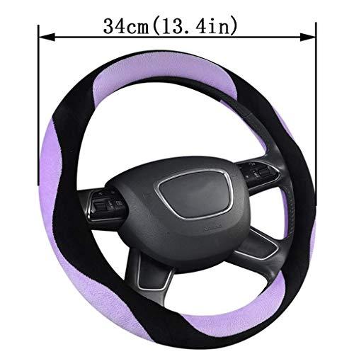 JXXDDQ Funda para volante de coche, de felpa, suave, antideslizante, de 34 cm a 50 cm de diámetro, para Scania R, P y S, coches, SUV, autobús, RV, camión, excavadora, excavadora, grúa (color: 34 cm)