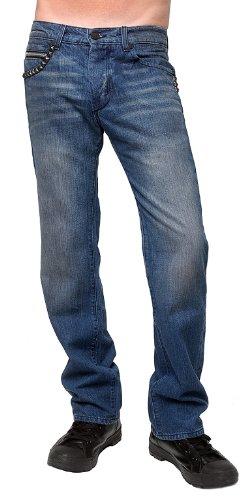 Rockstar Sushi - 'Studded Straight Leg Jeans Blue