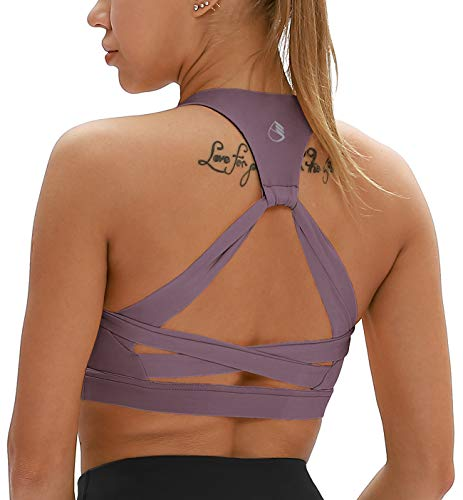 icyzone Damen Yoga Sport-BH mit Gepolstert Fitness Bustier Workout Running Bra (L, Lila)