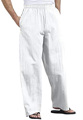 KingSize KS Island Men's Big & Tall Elastic Waist Gauze Cotton Pants - Tall - 2XL, White