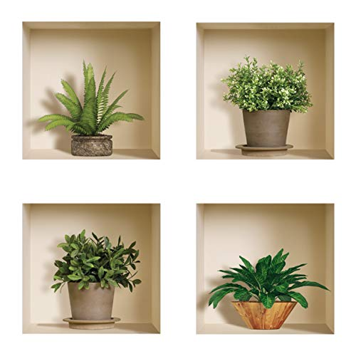 The Nisha Art Magic 3D Vinyl Removable Wall Sticker Decals DIY Set of 4 Green and Brown Plants 420