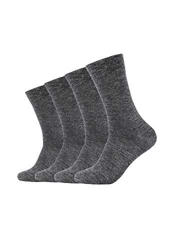 Camano Unisex Socken ca-soft 4er Pack Bund ohne Gummidruck grey, 39-42