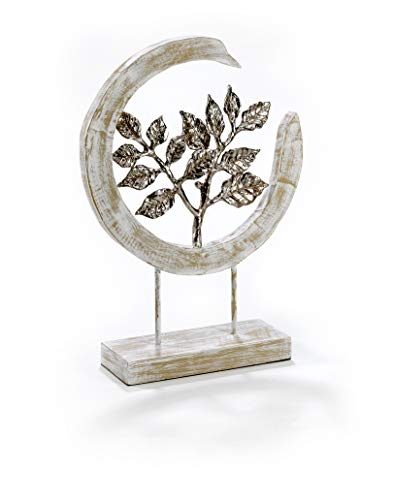 Moritz Skulptur Silver Leafs - Moderne Dekoration aus Mango-Holz und silbernen Aluminium Blättern - schöne Geschenkidee ergänzt eine Natur Deko hervorragend