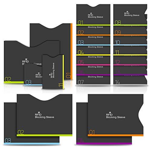 18 Stück PAMIYO TÜV geprüfte RFID Blocking NFC Schutzhüllen Kreditkarten reißfest für Kreditkarten, EC-Karten, Ausweise und Reisepass -100{c945d24059299b4a83f4dab3e5c446e68d243326b2120c19235dba6065adda46} Schutz gegen unerlaubtes Auslesen