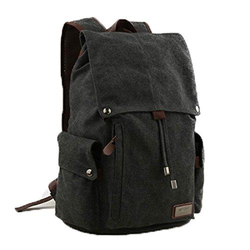 Retro-Segeltuch Rucksack Vintage-Rucksack Schultasche Reiserucksack Laptoprucksack Camping-Rucksack Unisex-Rucksack Lässige Daypacks mit Gepolsterte Tasche für Laptop (Schwarz)